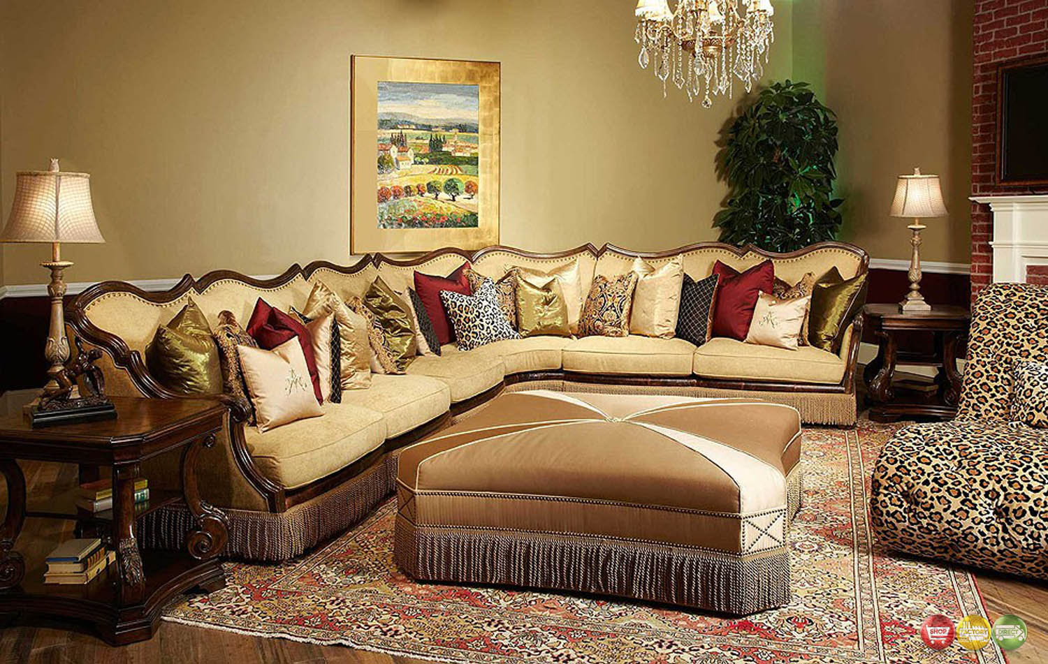 Michael Amini Victoria Palace 4 Piece Sectional Sofa By Aico