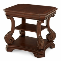 Michael Amini Victoria Palace Traditional Light Espresso End Table by AICO