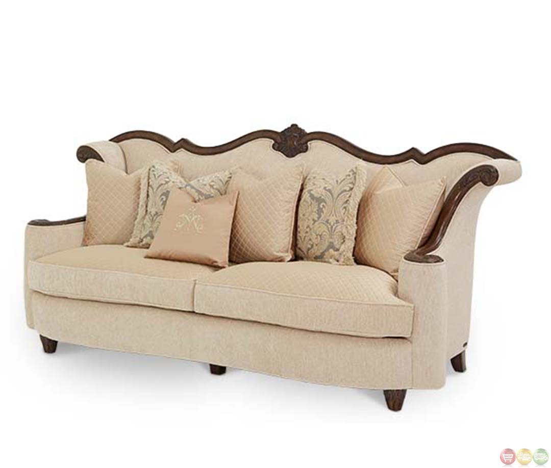 Michael Amini Victoria Palace Upholstered Wood Trim Sofa By AICO. Full resolution  photograph, nominally Width 1080 Height 918 pixels, photograph with #412C20.