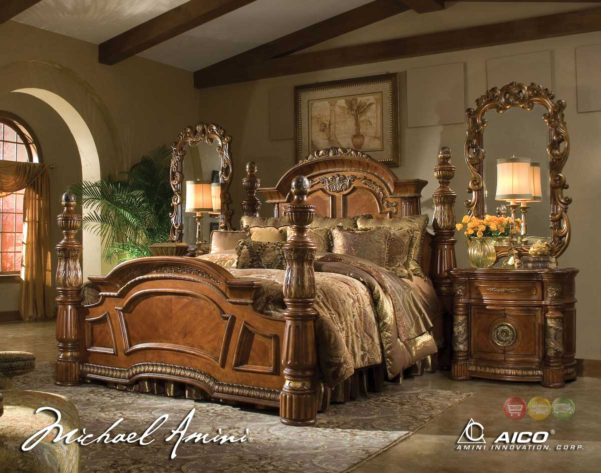 Michael Amini Villa Valencia 4 Poster King Bedroom Set