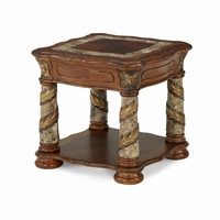 Michael Amini Villa Valencia End Table with Marble Columns by AICO