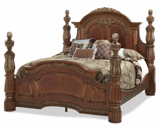 Traditional Chestnut King Poster Bed Michael Amini Villa Valencia by AICO
