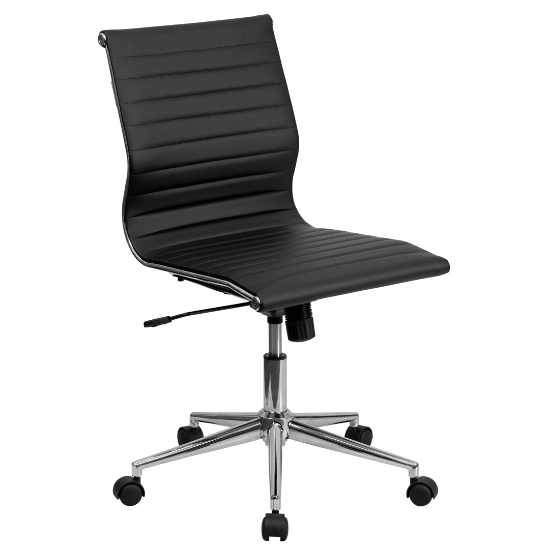 mid back armless black ribbed upholstered leather