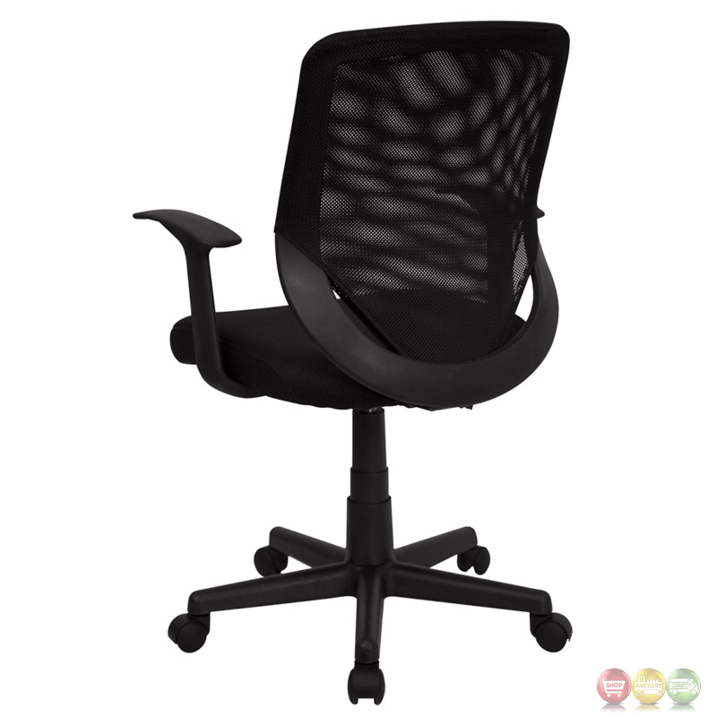 Mid Back Black Mesh Office Chair With Mesh Fabric Seat LF W 95A BK GG