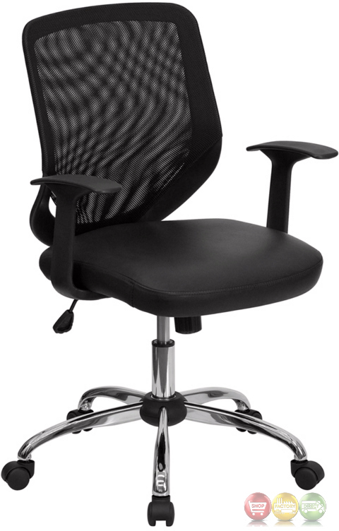mid back black office chair with mesh back and italian leather seat lf