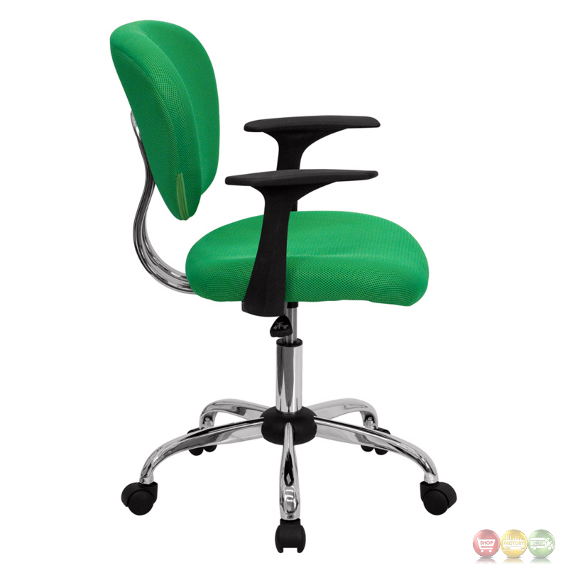 Mid Back Bright Green Mesh Task Chair With Arms And Chrome Base H 2376 F BRGR
