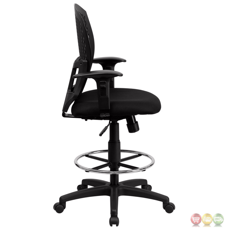 Mid Back Designer Back Drafting Stool With Padded Fabric Seat And Arms WL 395