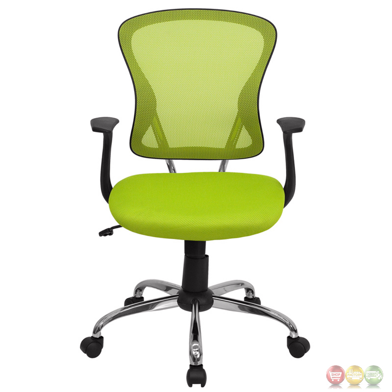 Mid Back Green Mesh Swivel Task Chair With Chrome Base