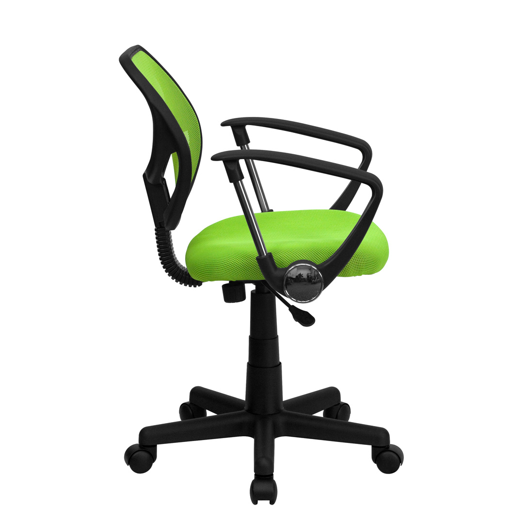 Mid Back Green Mesh Task Chair And Computer Chair With Arms WA 3074 GN A GG