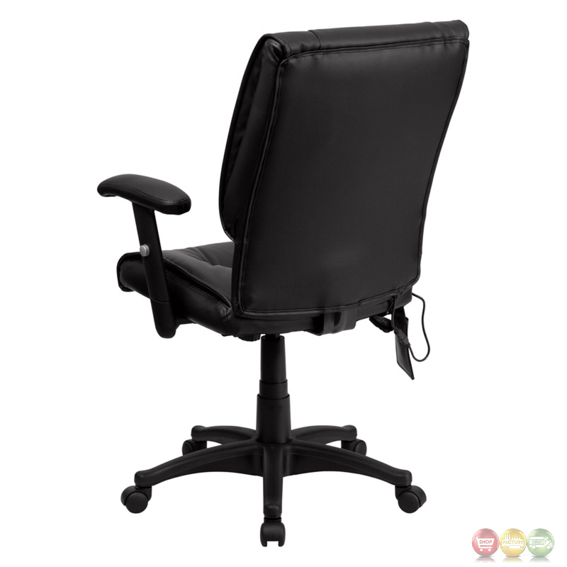 Mid back Massaging Black Leather Executive Swivel fice Chair
