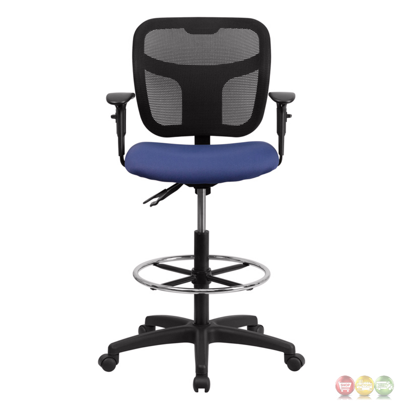 Mid Back Mesh Drafting Chair W Navy Blue Fabric Seat Height Adjustable