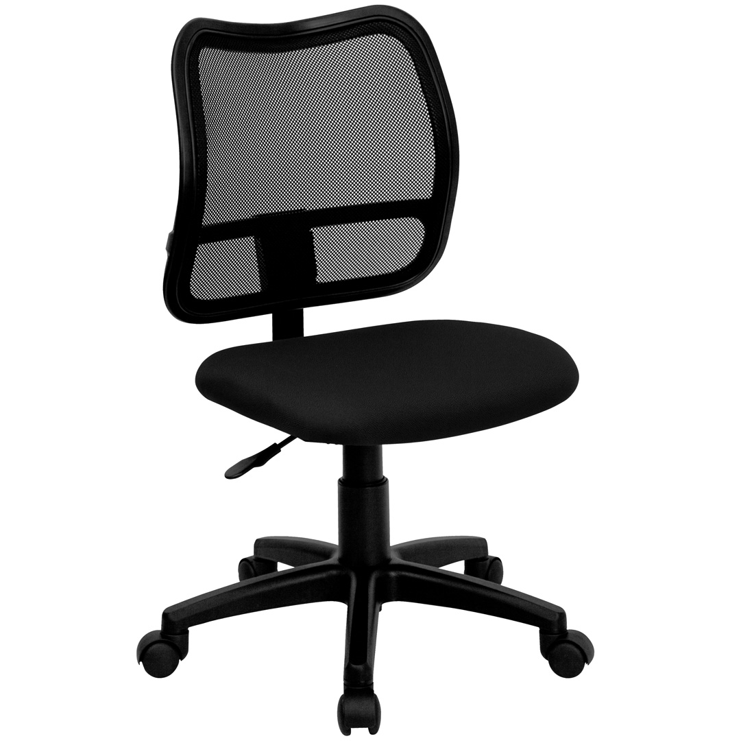 Mid Back Mesh Task Chair With Black Fabric Seat WL A277 BK GG