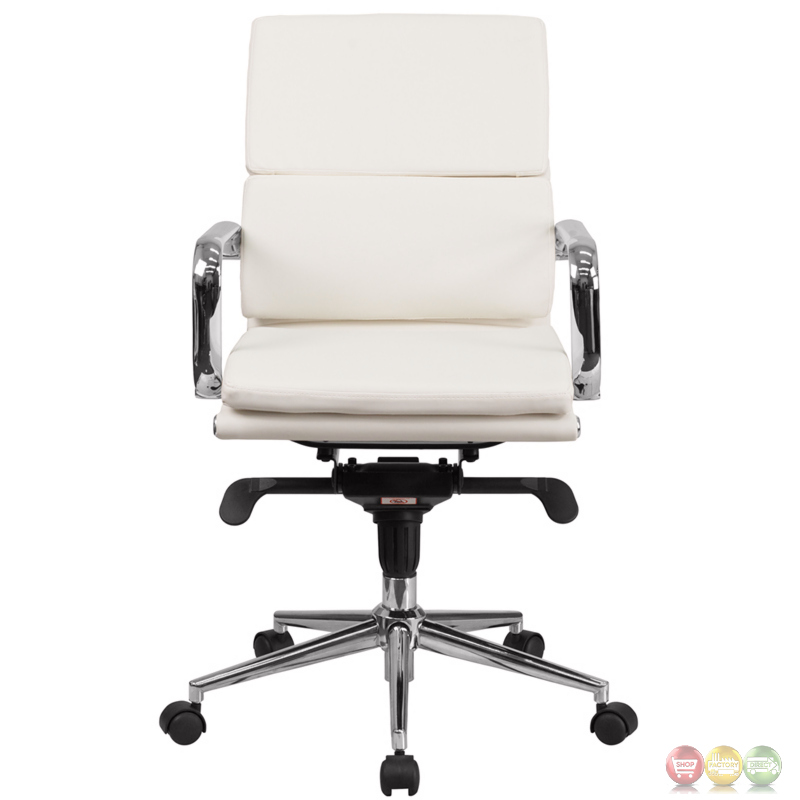 mid back white leather executive swivel office chair with synchro tilt