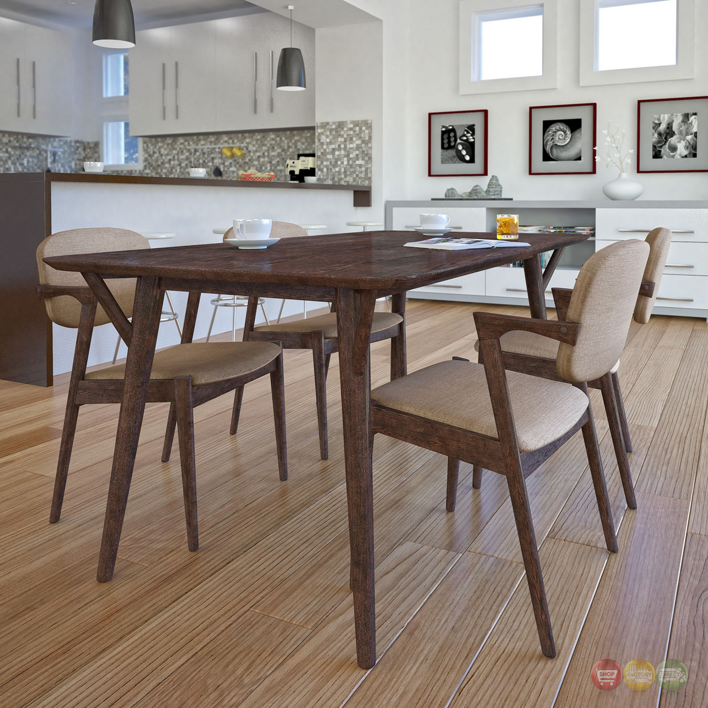 Mid Century Modern Dining: Mid-century Modern 5pc Wooden Dining Set With Upholstered
