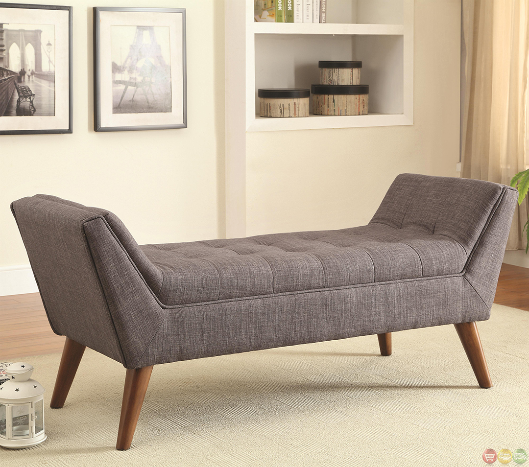 Mid Century Modern Design Accent Bed Bench Gray Tufted