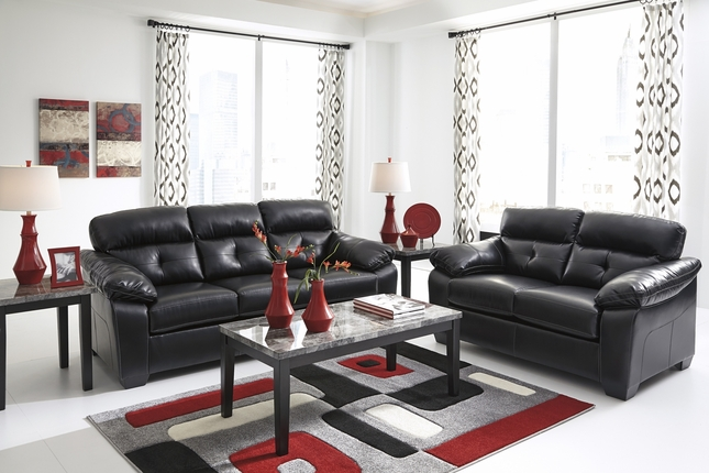 Midnight Black Casual Contemporary Living Room Furniture Set by Ashley