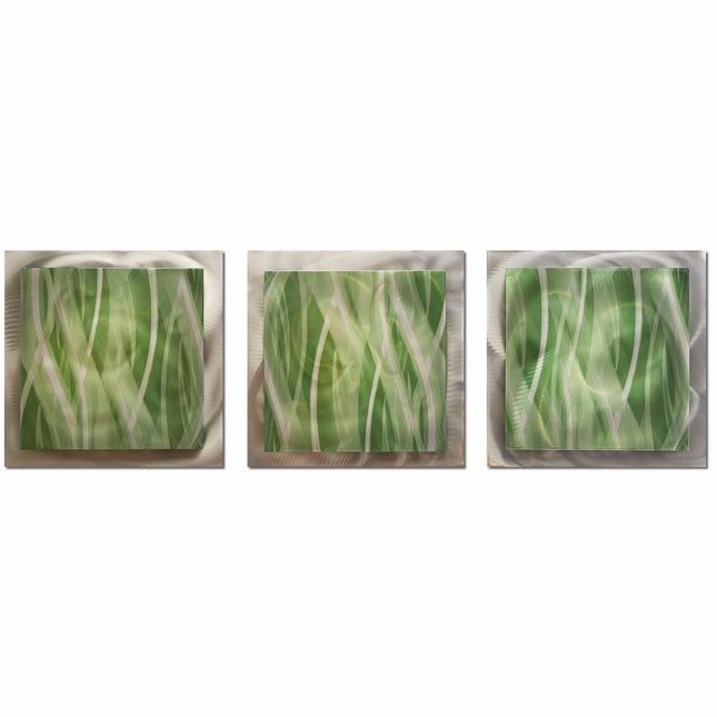Mint Essence Set of 3 Layered Modern Metal Wall Art L0160