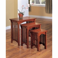 Mission Style 3 Piece Oak Finish Side Nesting Tables