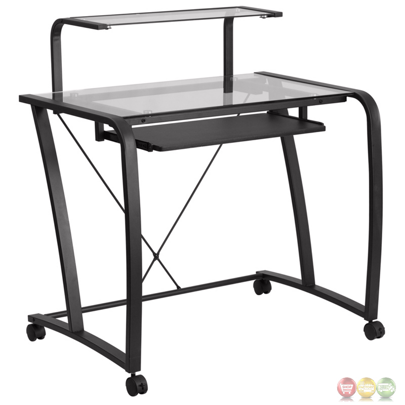 Mobile Glass Computer Desk With Pull Out Keyboard Tray And