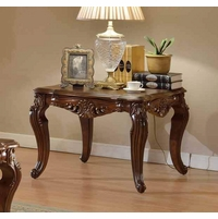 Modena Cherry End Table With Ornate Hand-carved Design