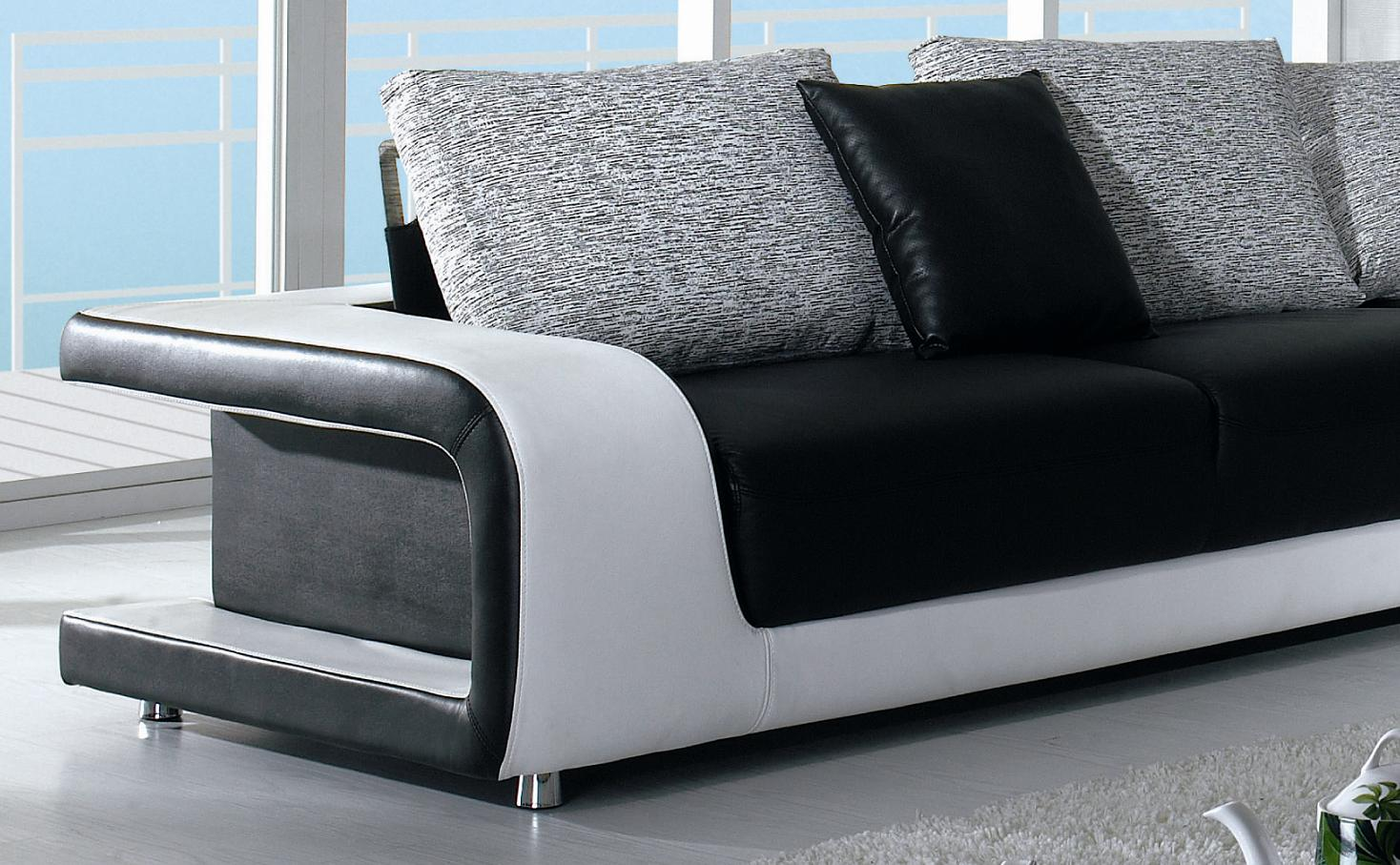Divani Casa Black And White Leather And Fabric Sectional Sofa