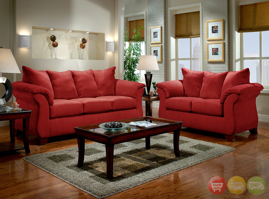 Red Living Room: Modern Red Sofa & Loveseat Living Room Furniture Set