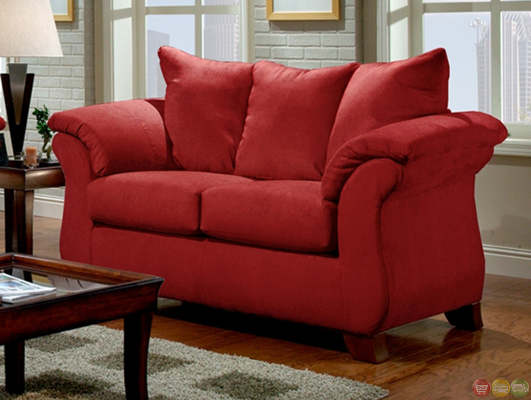 Modern Red Sofa amp; Loveseat Living Room Furniture Set