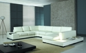 Modern White Leather Sectional Sofa T35 Contemporary Living Room