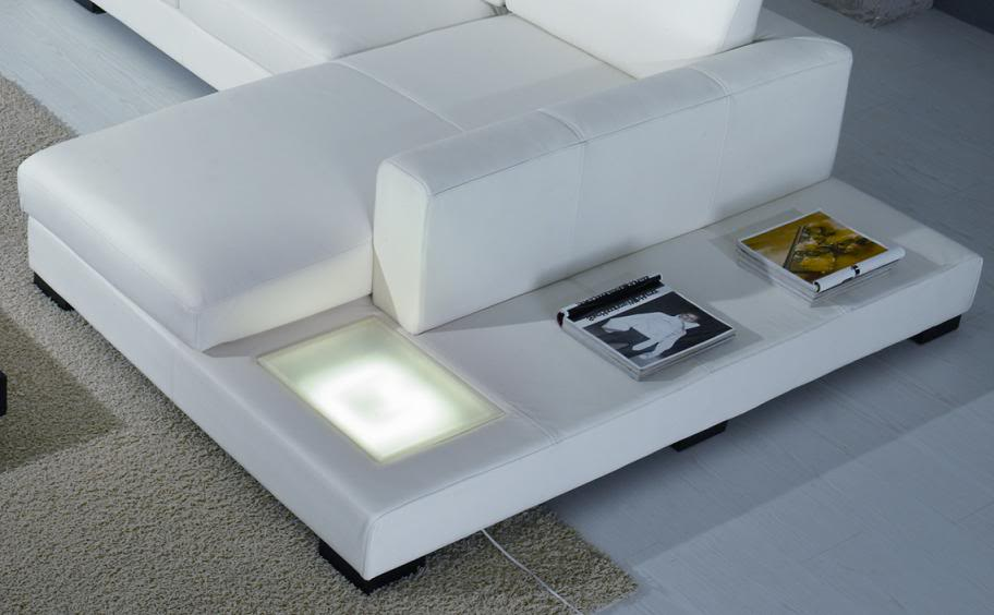 Modern White Leather Sectional Sofa T35 Contemporary
