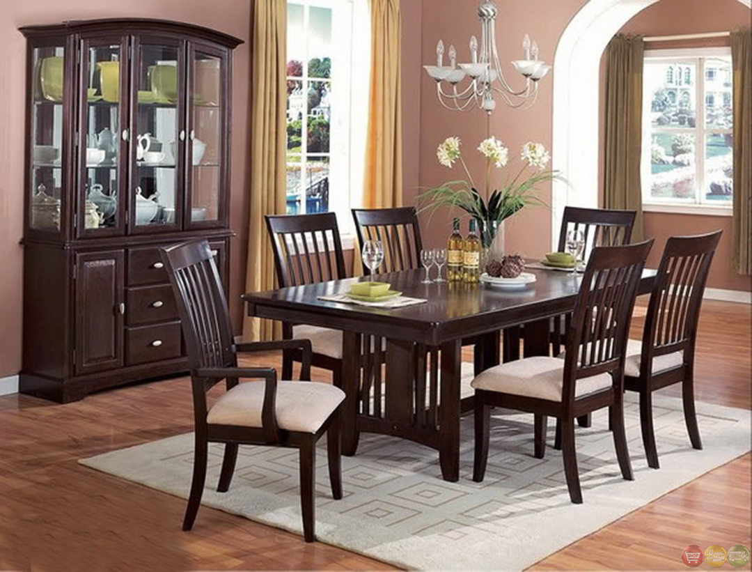 Monaco cappuccino casual dining room table and chairs set for Informal dining room sets