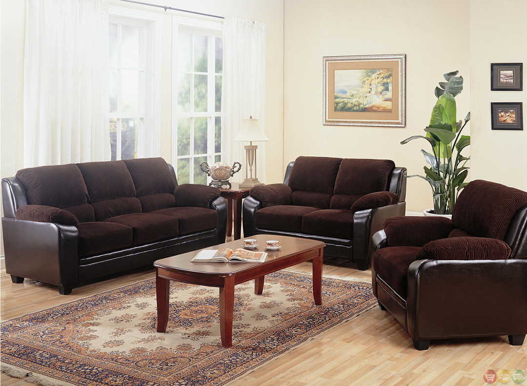 Two Toned Dark Brown Corduroy Casual Living Room Sofa and Loveseat Set