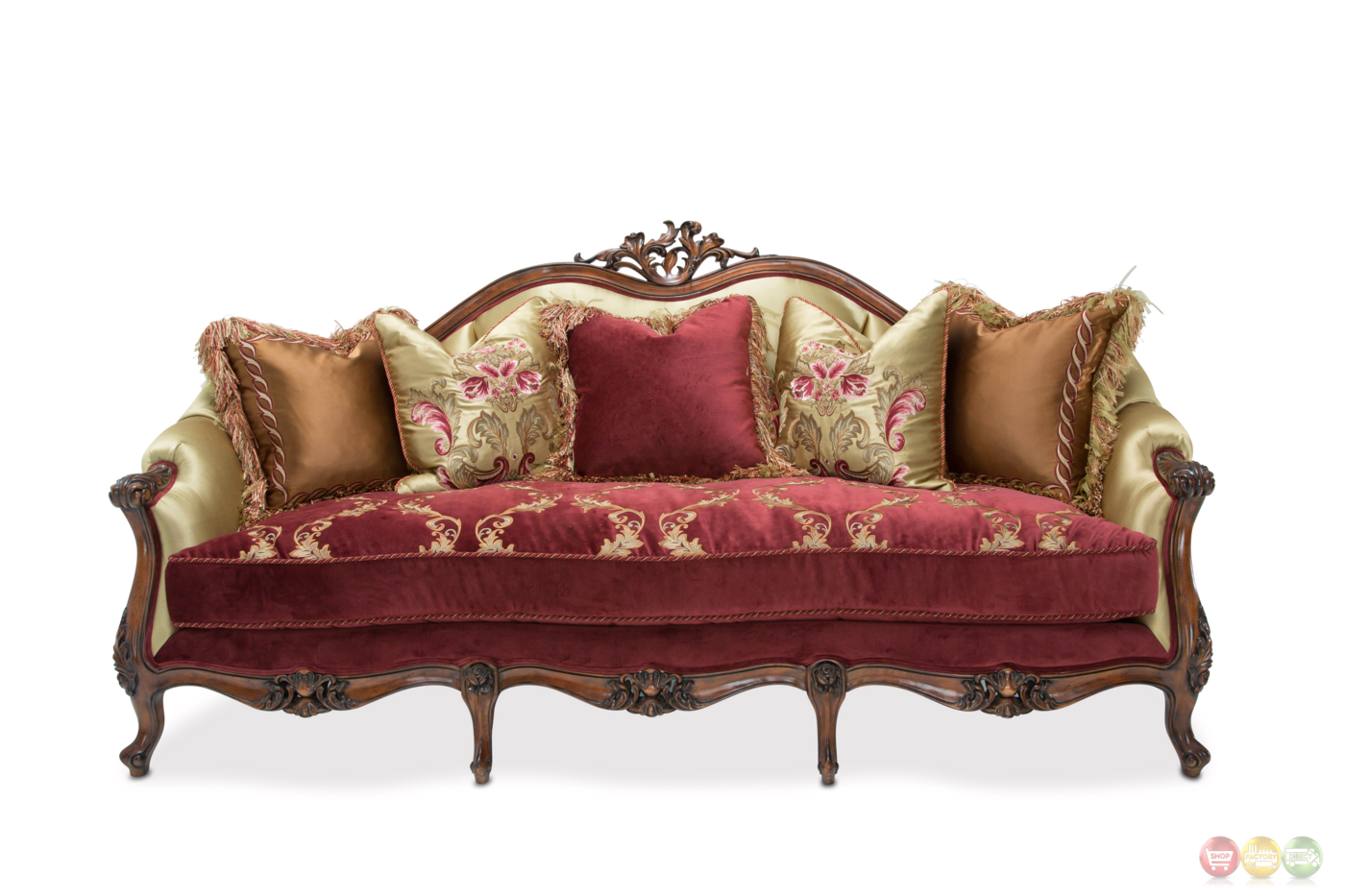 Monique Victorian Ruby Red And Gold Embroidered Sofa In