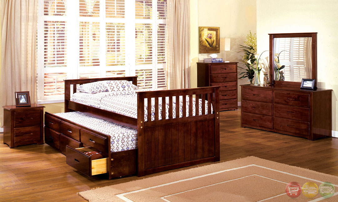 Montana II Mission Cherry Twin Platform Bedroom Set With Trundle And 3