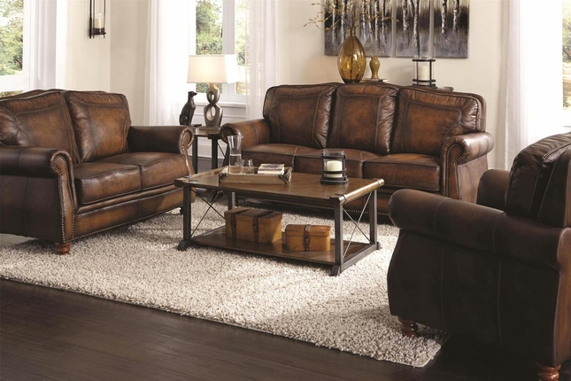 Montbrook Traditional Brown Genuine Leather Sofa Set Rolled Arms