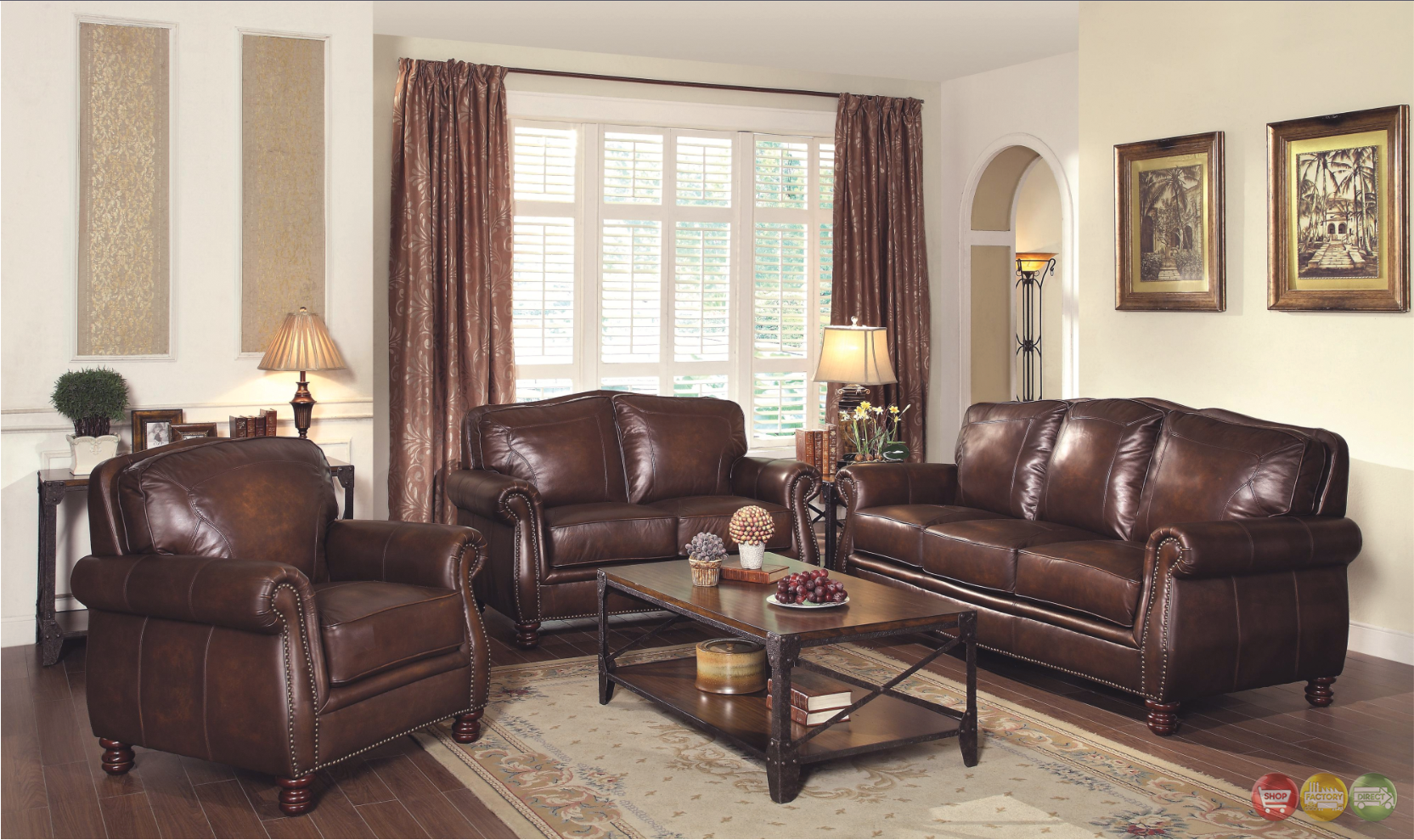 Montbrook Traditional Brown Genuine Leather Sofa Set Rolled Arms Nail Head Trim
