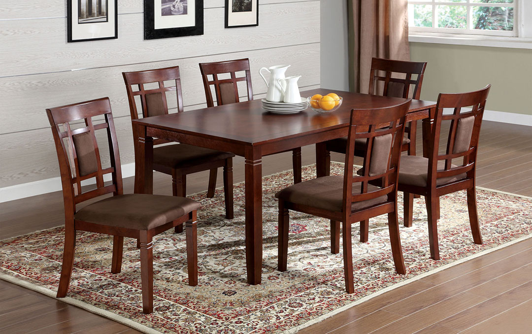 Montclair I Transitional Dark Cherry Casual Dining Set With Padded