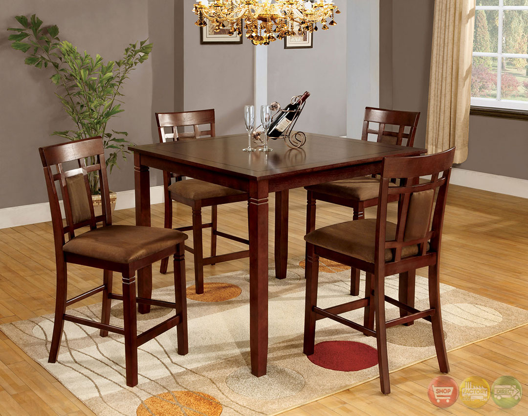 Counter Height Dining Set : ... Cherry Counter Height Dining Set with Padded Microfiber Seat CM3930PT