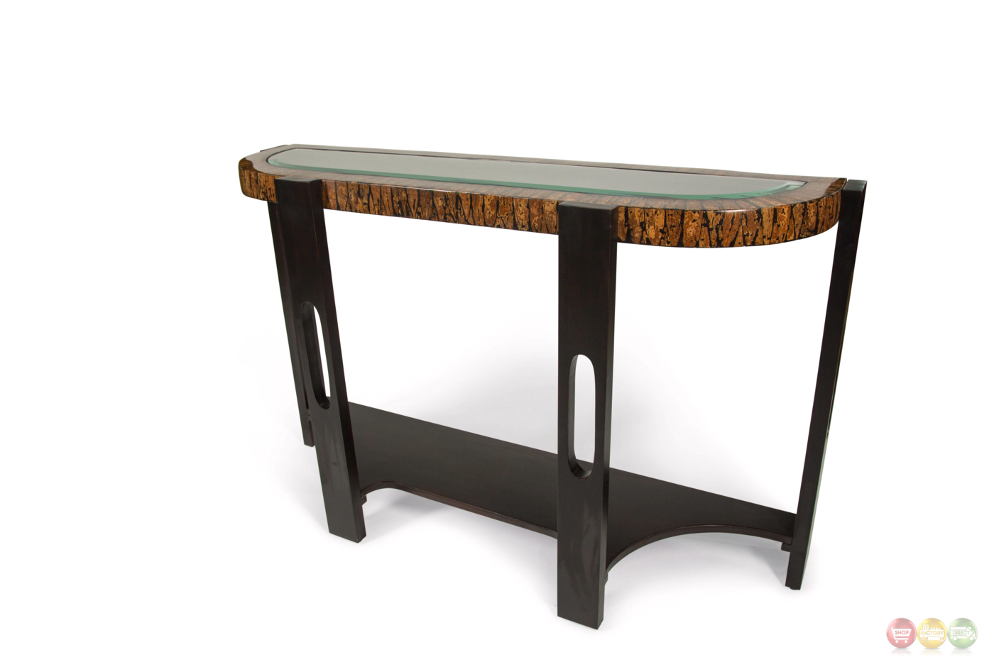 montecristo transitional curved sofa table with and glass top