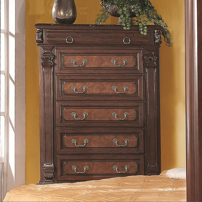 Monticello Traditional Five Drawer Brown Finish Chest