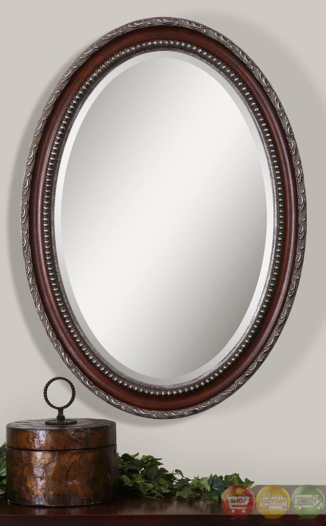 Montrose Traditional Distressed Dark Mahogany Silver Oval