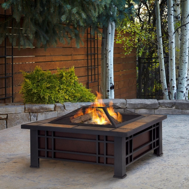 """Morrison Outdoor 34"""" Square Fire Pit In Black With Natural Slate Top"""