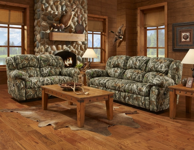 Mossy Oak Camouflage Reclining Motion Sofa & Loveseat Living Room Furniture Set