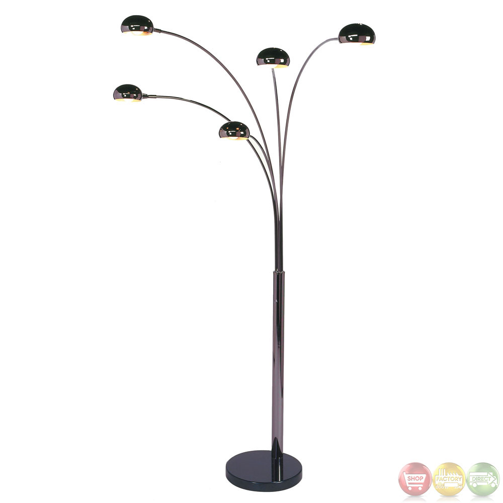 mushroom black marble base 5 light arc floor lamp 4035. Black Bedroom Furniture Sets. Home Design Ideas
