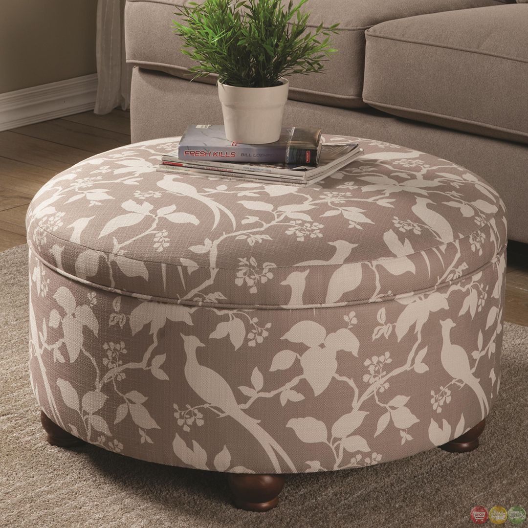 Muted Tone Printed Upholstery Round Storage Ottoman - Couches Furniture Gallery - Page 2 Of 1515 - Best Place To Find