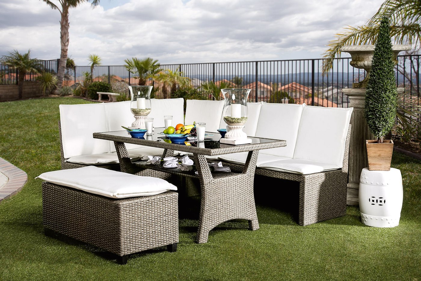 casual outdoor patio sectional dining set in white grey wicker