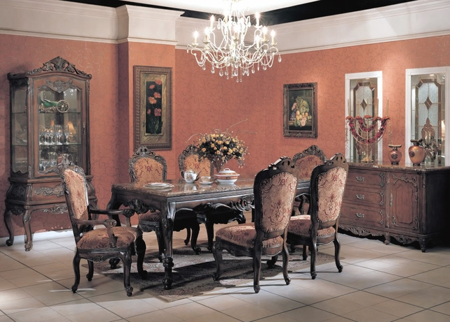 Natalie Formal Dining Room Furniture Set Marble Top Table