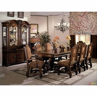 "Neo Renaissance Formal Dining Room Set 108"" Table & Upholstered Chairs"