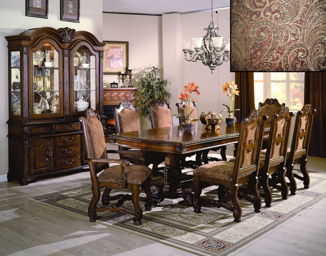 """Neo Renaissance Formal Dining Room Set 108"""" Table & Upholstered Chairs"""