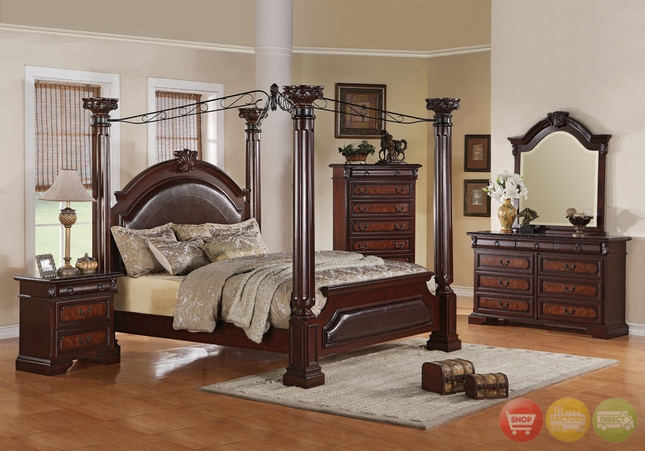Neo Renaissance Poster Canopy Bed Luxury Bedroom Furniture Set