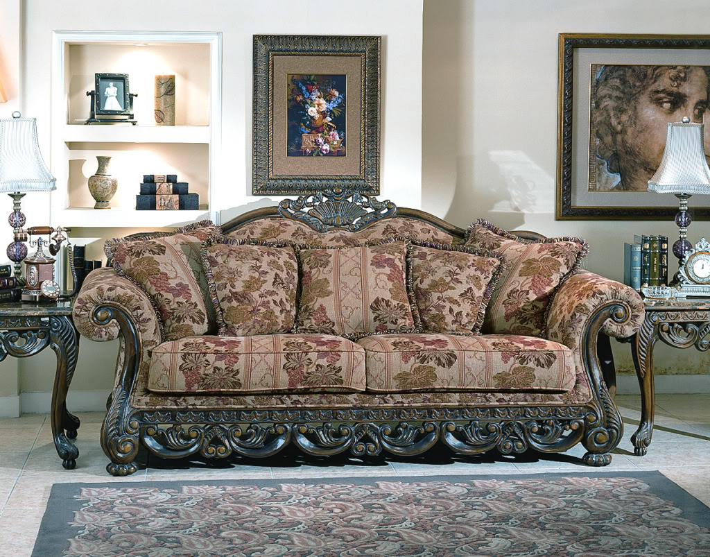 Newport Baroque Style Fabric Formal Living Room Furniture Set